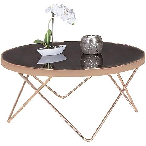 FineBuy Couchtisch FB45659 Glas ø 82 cm Metall Wohnzimmertisch Modern    Glastisch Rund Sofatisch Wohnzimmer Schwarz   Moderner Coffee Table mit ...