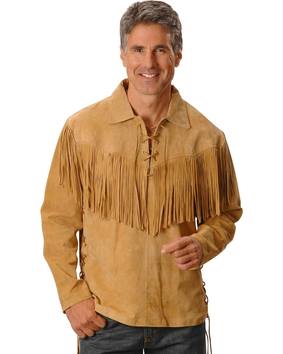 Scully Men's Fringed Boar Suede Leather Shirt Tan Medium