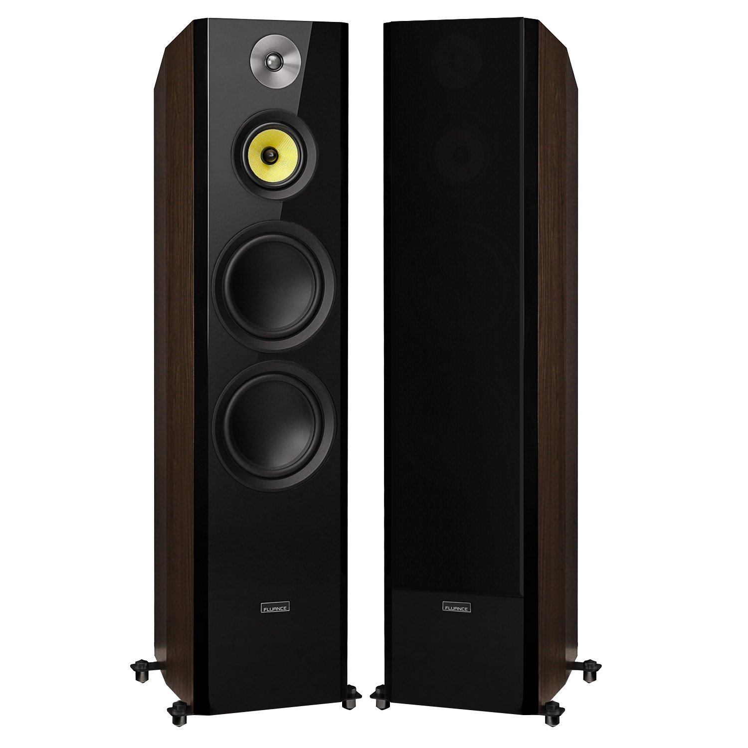 Fluance Signature Series Hi-Fi Three-way Floorstanding Tower Speakers with Dual 8'' Woofers (HFFW) Natural Walnut