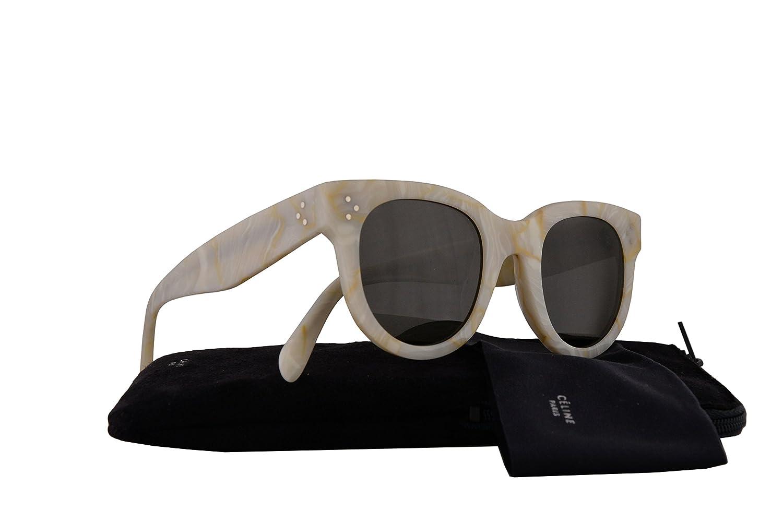 17c901dc91a Amazon.com  Celine CL41053 S Baby Audrey Sunglasses White w Brown Lens 47mm  21JNR CL41053S CL 41053 S  Clothing