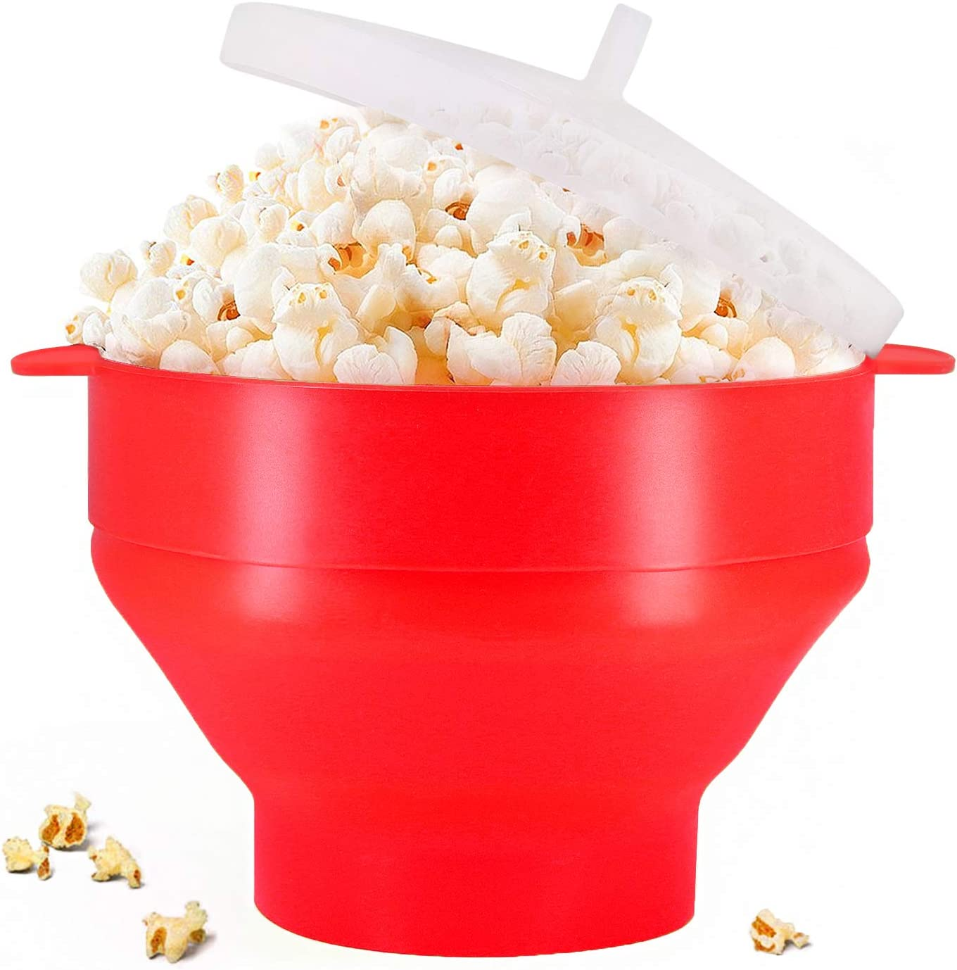 Use In Microwave or Oven Red Original Microwaveable Silicone Popcorn Popper BPA Free Collapsible Hot Air Microwavable Popcorn Maker Bowl