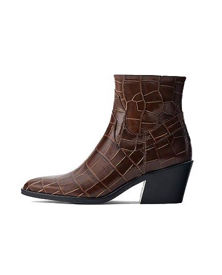 fbfc4c24a11c Uterque Women s Mock Croc Cowhide Leather Ankle Boots 4064 051 (2 ...