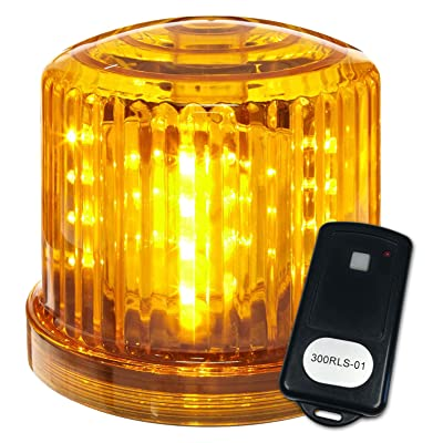 """Fortune Products PL-300AJ-RCS02 Battery Powered Ultra Bright LED Remote Control Police Beacon, Frequency 2, 6"""" Diameter x 5"""" Height, Amber: Industrial & Scientific"""