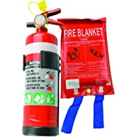 1KG Dry Chemical ABE Fire Extinguisher with Plastic Bracket + Fire Blanket 1x1M