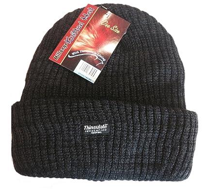 b73c7745c5bf8 Men s   Women s   Unisex BLACK Millange Marl Chunky Thermal Beanie Hat. Thinsulate  Fleece Lined