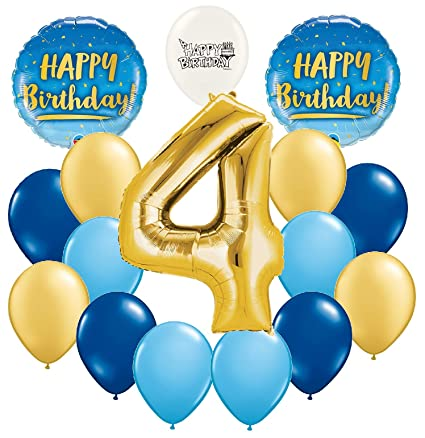 Amazon Ultimate 4th Birthday Gold And Blue Party Decorations