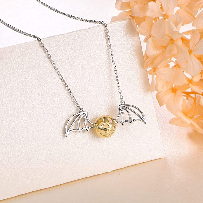65a5515576ff12 Amazon.com: 925 Sterling Silver Bat Pumpkin Luminous Beads Glow Pendant  Necklace, 16 inches to 18 inches: Jewelry
