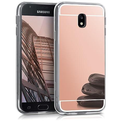 kwmobile Funda para Samsung Galaxy J3 (2017) DUOS - Carcasa Protectora [Trasera] de [TPU] para móvil en [Oro Rosa con Efecto Espejo]