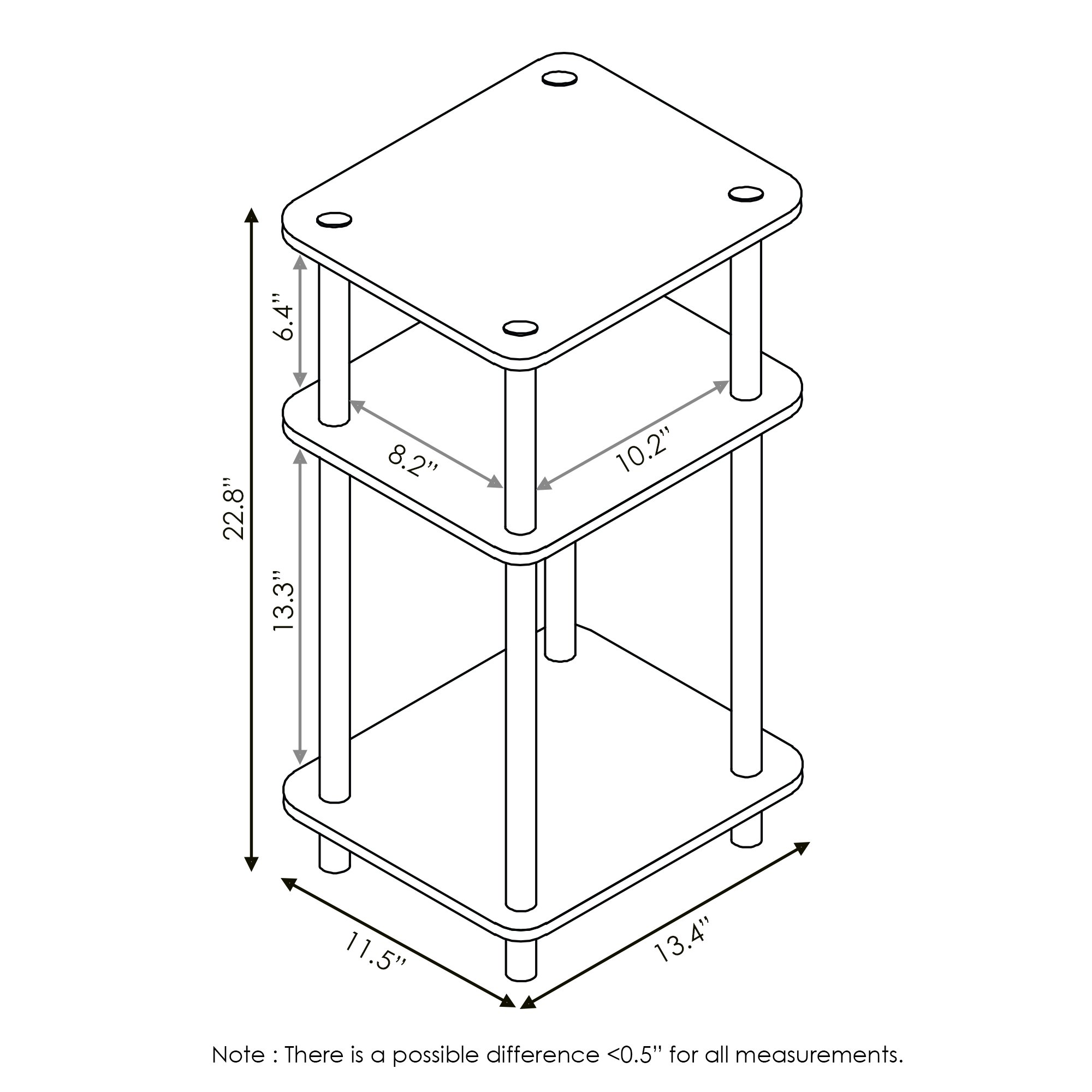 FURINNO Just 3-Tier No Tools Tube end Table