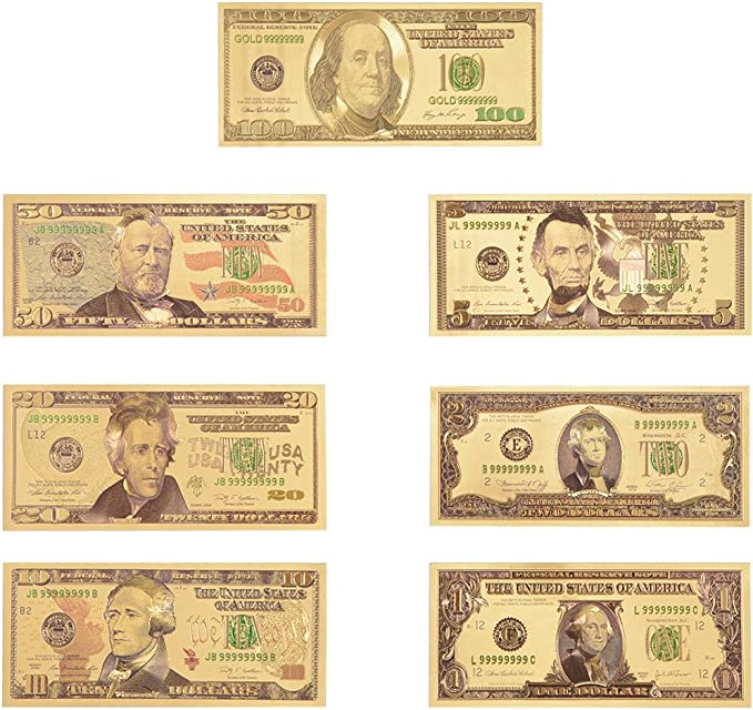 US $100 Banknotes USD 24k Gold Foil Paper Money Dollars-C Five 5
