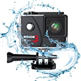 Action camera MINIGO 3 4K 16MP Sports action camera Waterproof 100FT Underwater camera 170°wide angle with Sony sensor 2 Rechargeable batteries and mounting accessories kit in Portable Package Black