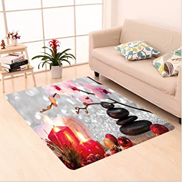 Nalahome Custom Carpet Cor Winter Christmas Theme With Pink Orchid Stone And Red Candles Image