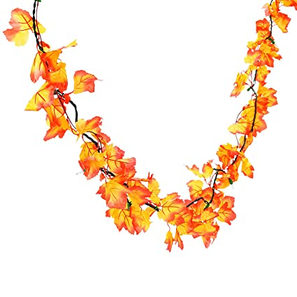 bec5daa3fa29 Amazon.com: Fun Express Autumn Leaves Lighted Garland - Wreaths and Floral  Decorations, 80