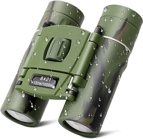 Kids Binoculars, 8×21 Compact Shock Proof Folding Telescope Camouflage Binoculars for Bird Watching, Outdoors Sports, Hiking and Concert Theater Opera, Best Gift Adults Children