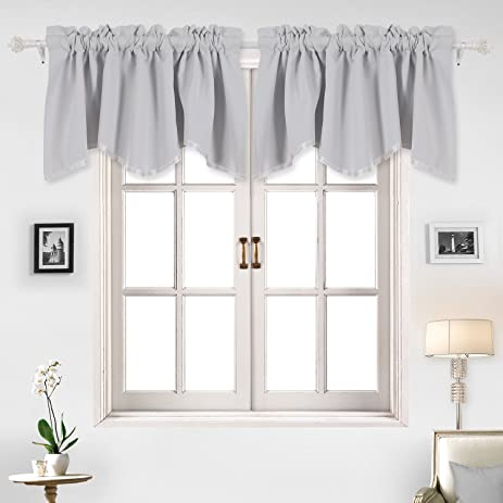 Deconovo Solid Color Short Curtains Scalloped Valance Rod Pocket Valances  Blackout Valance For Windows Kitchen 52