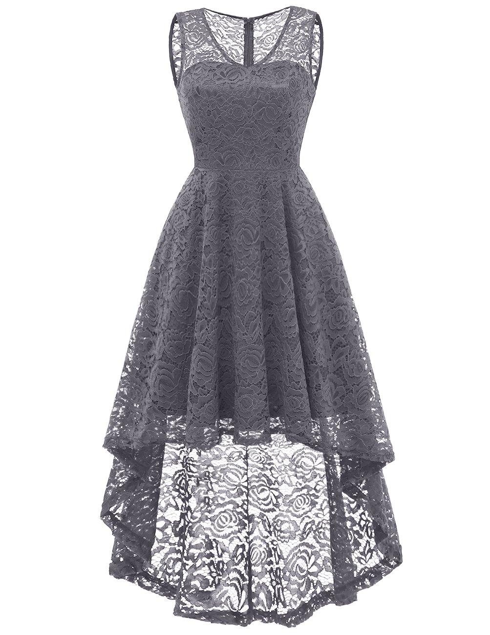 DRESSTELLS Women's Cocktail V-Neck Dress Floral Lace Hi-Lo Formal Swing Party Dress Grey XL