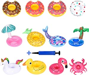 Babigo Inflatable Drink Holder 12 Pack, Pool Drink Holder Floats for Parties and Kids Water Fun Toys, Drink Floats with Mini Inflatable Cylinder