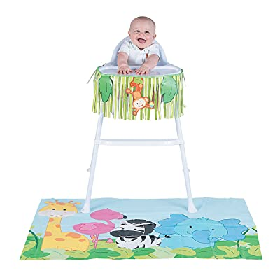 Fun Express - 1st Zoo High Chair Kit (2pc) for Baby - Party Decor - General Decor - Decorating Kits - Baby - 2 Pieces: Toys & Games