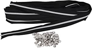 Mandala Crafts Sewing Zipper Roll for Sewing, Replacements, Upholstery with Metallic Nylon Coils, Long Metal Slider Pulls (Black Tape Silver Teeth, Size 5 10 Yards)