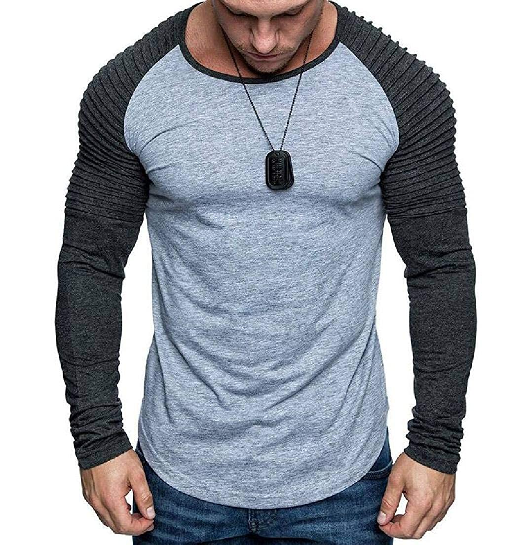 Abeaicoc Mens Pullover Long Sleeve Ruched Crewneck T Shirts Tee