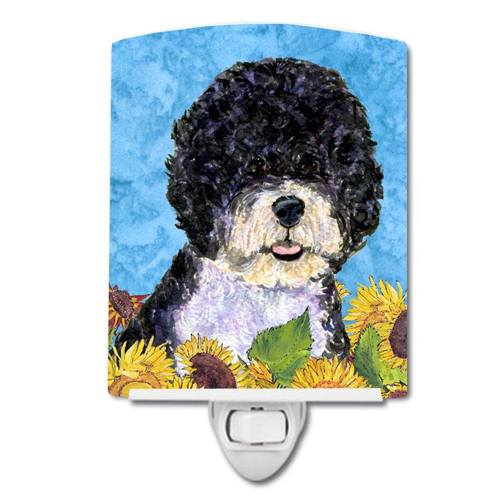 Caroline's Treasures Portuguese Water Dog in Summer Flowers Night Light, 6'' x 4'', Multicolor