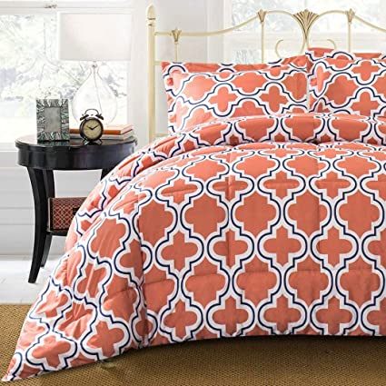Amazoncom 3 Piece Coral Orange Navy Blue White Trellis Comforter