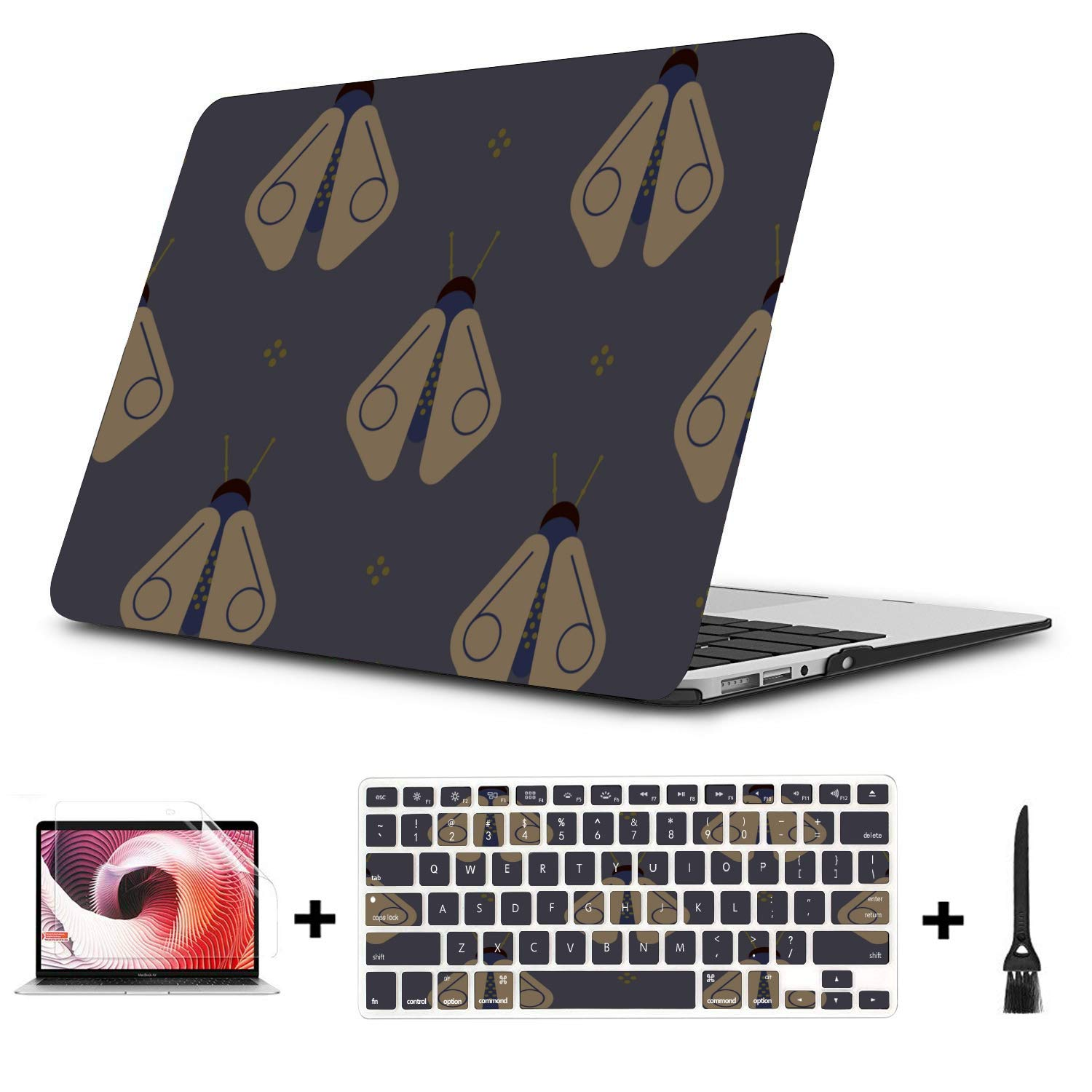 15 Inch MacBook Case Shiny Night Romantic Insects Firefly Plastic Hard Shell Compatible Mac Air 11 Pro 13 15 MacBook Pro A1708 Case Protection for MacBook 2016-2019 Version