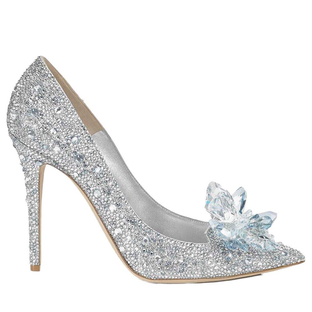 Zapatos De Tacón De Aguja del Dedo del Pie del Estilete De Las Mujeres Puntiagudas Zapatos De Fiesta Bombas De Diamantes De Imitación De Punta Estrecha Zapatos De Boda 38 EU|Silver