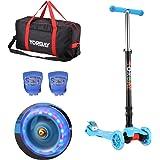 Yorbay Monopattino a 3 ruote per bambini Regolabile Scooter Freestyle Pieghevole Fino a 60 kg, LED ruote, alla luce rana, sacchetto