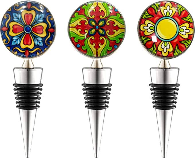 FDA Approved Holiday Party LIZIMANDU Wine Bottle Stoppers,Set of 4 Stainless Steel Wine Stoppers For Gifts Wedding Quicksand Scenery Bar