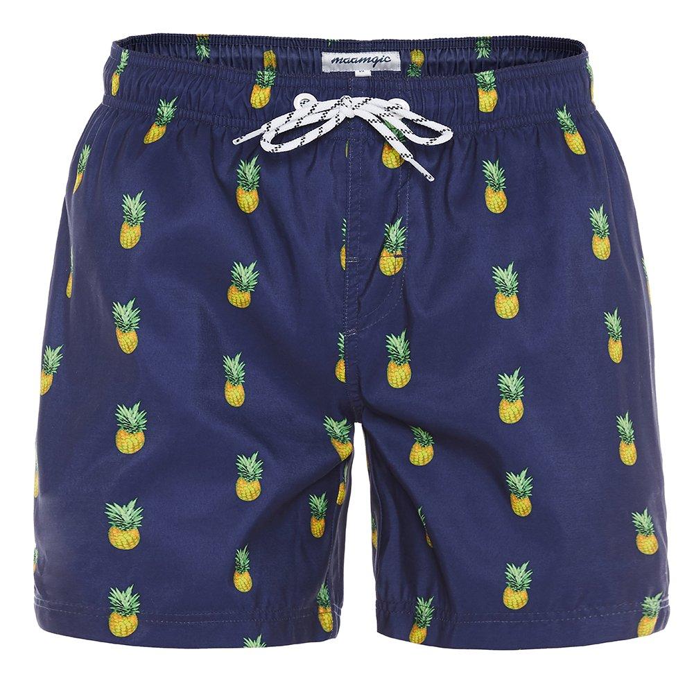 MaaMgic Mens Slim Fit Quick Dry Short Swim Trunks with Mesh Lining,Medium(Waist:31''-33''),New-qma199-pineapple