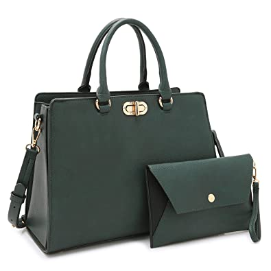 f254961510468b Amazon.com: Women Handbags and Purses Ladies Large Shoulder Bags Tote Top  Handle Satchel for Women with Wristlet (01- Army Green): Shoes