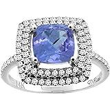Sabrina Silver 14K Gold Natural Tanzanite Ring Cushion Cut 7x7 mm Double Halo Diamond Accents, Sizes 5-10
