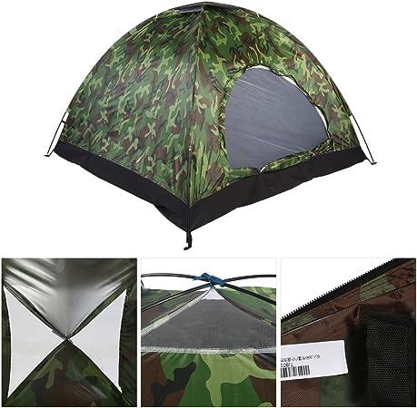 Tienda de Campaña 4 Personas Camuflaje, 3-4 Personas Tienda Camping Dome Tent Outdoor UV Protección de Camuflaje Impermeable Tienda de campaña para ...