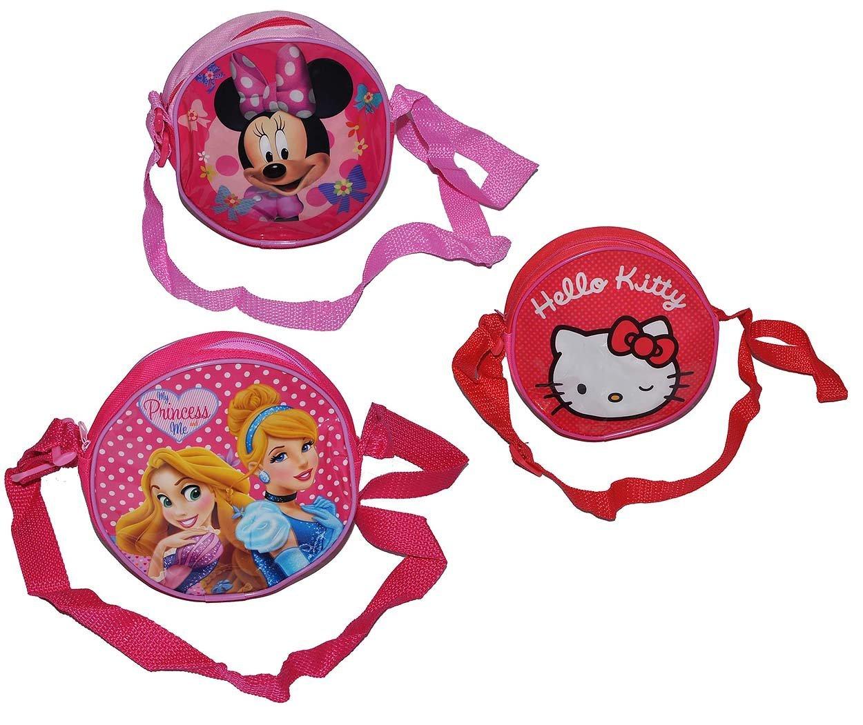 1 Stk. Umhängetasche / Schultertasche - Hello Kitty - Prinzessin - Minnie Mouse - für Kinder abwischbar - Kind Katze Blumen Mädchen Kindergartentasche Tragetasche Kindertasche Kinder-Land