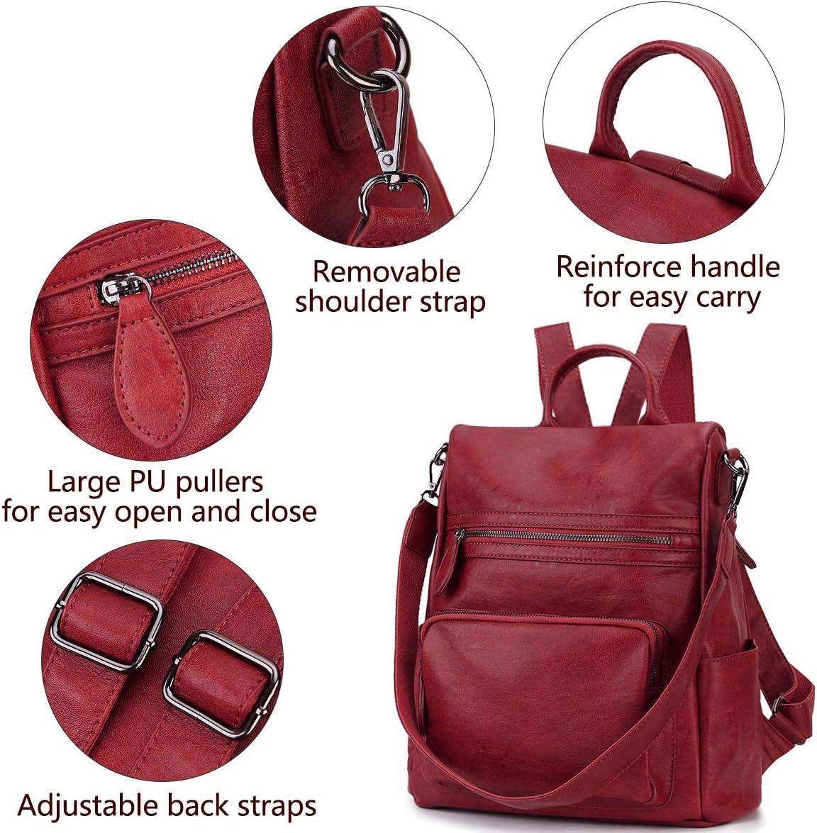 Rosso Zaino Donna,Antifurto Borsa Zaino Zainetto in Pelle PU Zaino alla Moda con Tracolla Casuale Daypack Borse a Mano Backpack Daypack per Scuola Viaggio