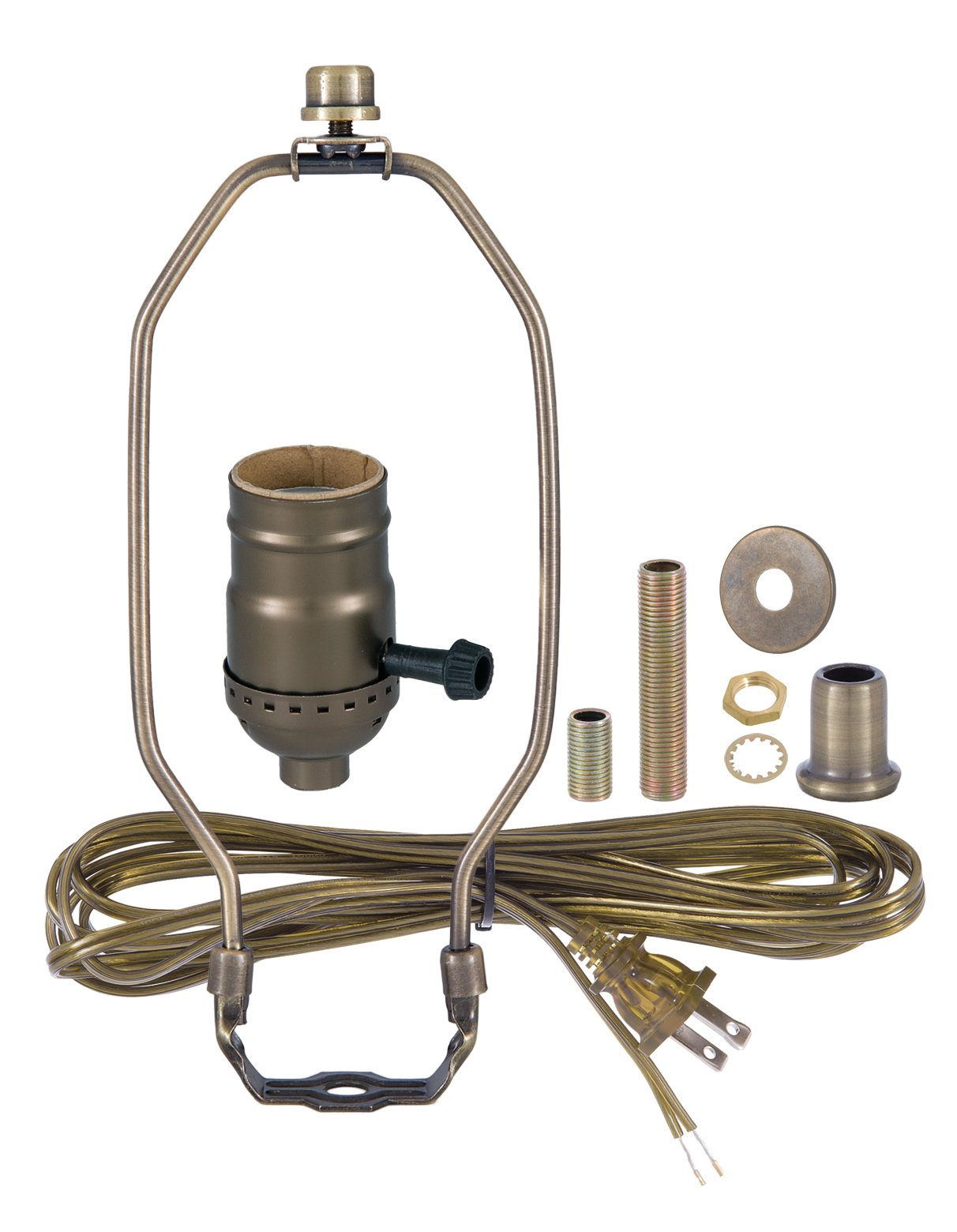 B&P Lamp Antique Brass Finish Table Lamp Wiring Kit With 8 Inch Harp, 3-Way Socket