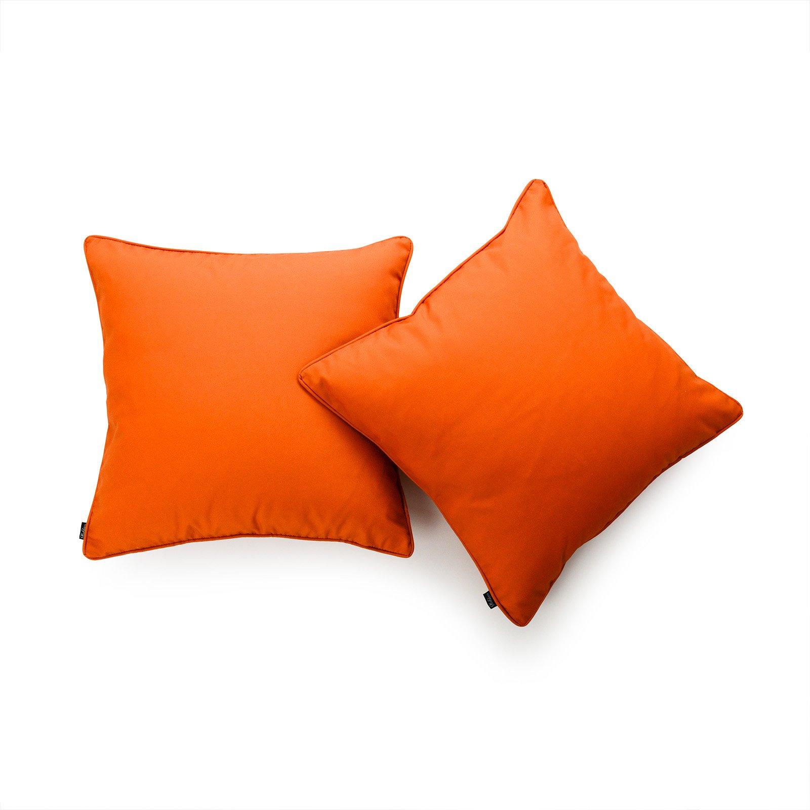 Hofdeco Decorative Throw Pillow Cover INDOOR OUTDOOR WATER RESISTANT Canvas Maple Orange Solid 18''x18'' Set of 2