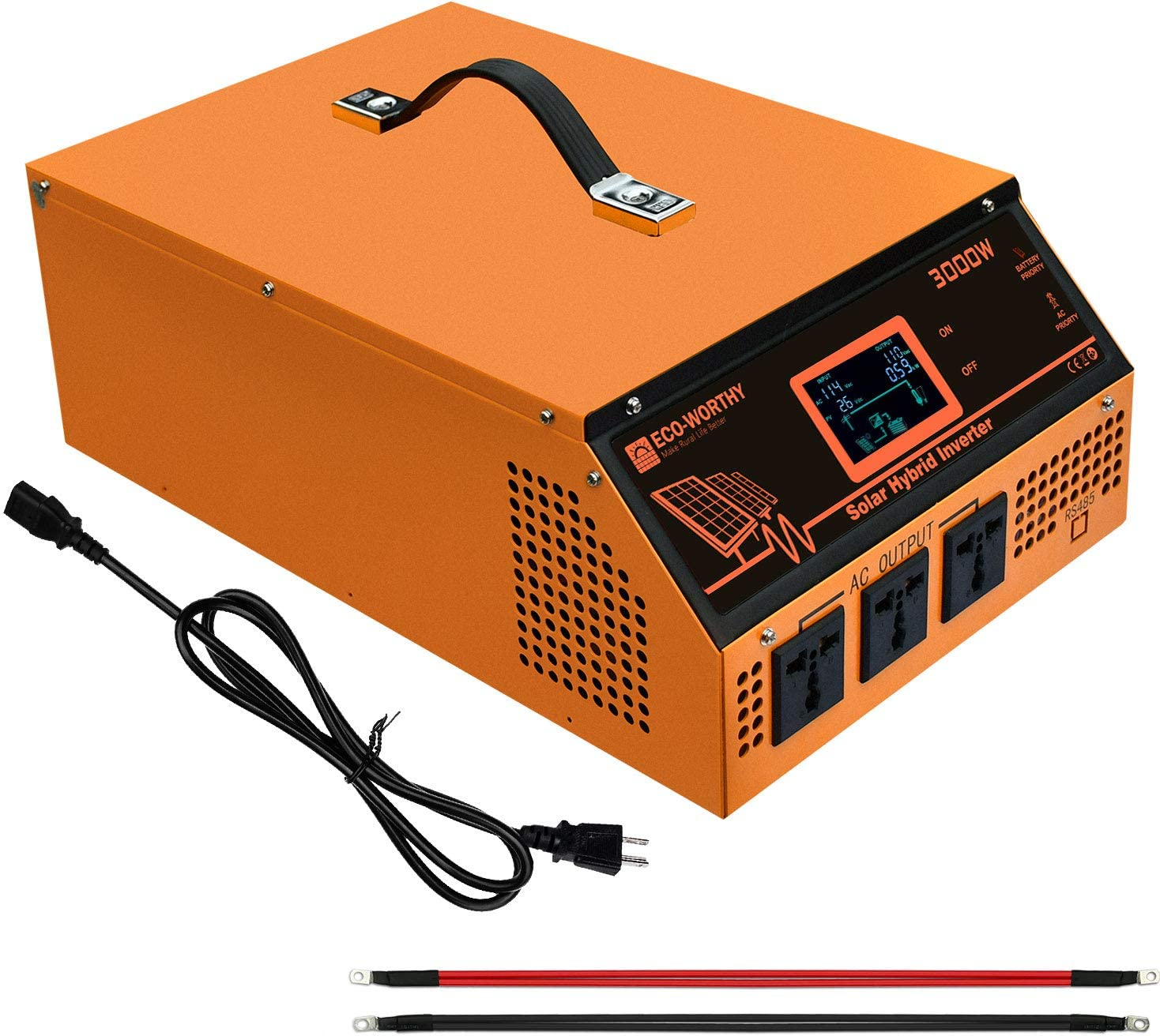 ECO-WORTHY All-in-one Solar Charger Inverter Built in 3000W 24V Pure Sine Wave Power Inverter and 50A Solar Controller for Off-Grid System