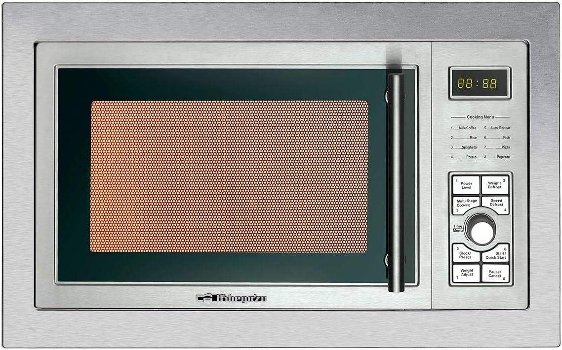 Orbegozo MIG 2325 - Microondas con grill integrable full INOX, 23 litros de capacidad, 8 niveles de potencia, 9 menús de cocción automática, display digital, potencia 900 W microondas y 1000 W grill