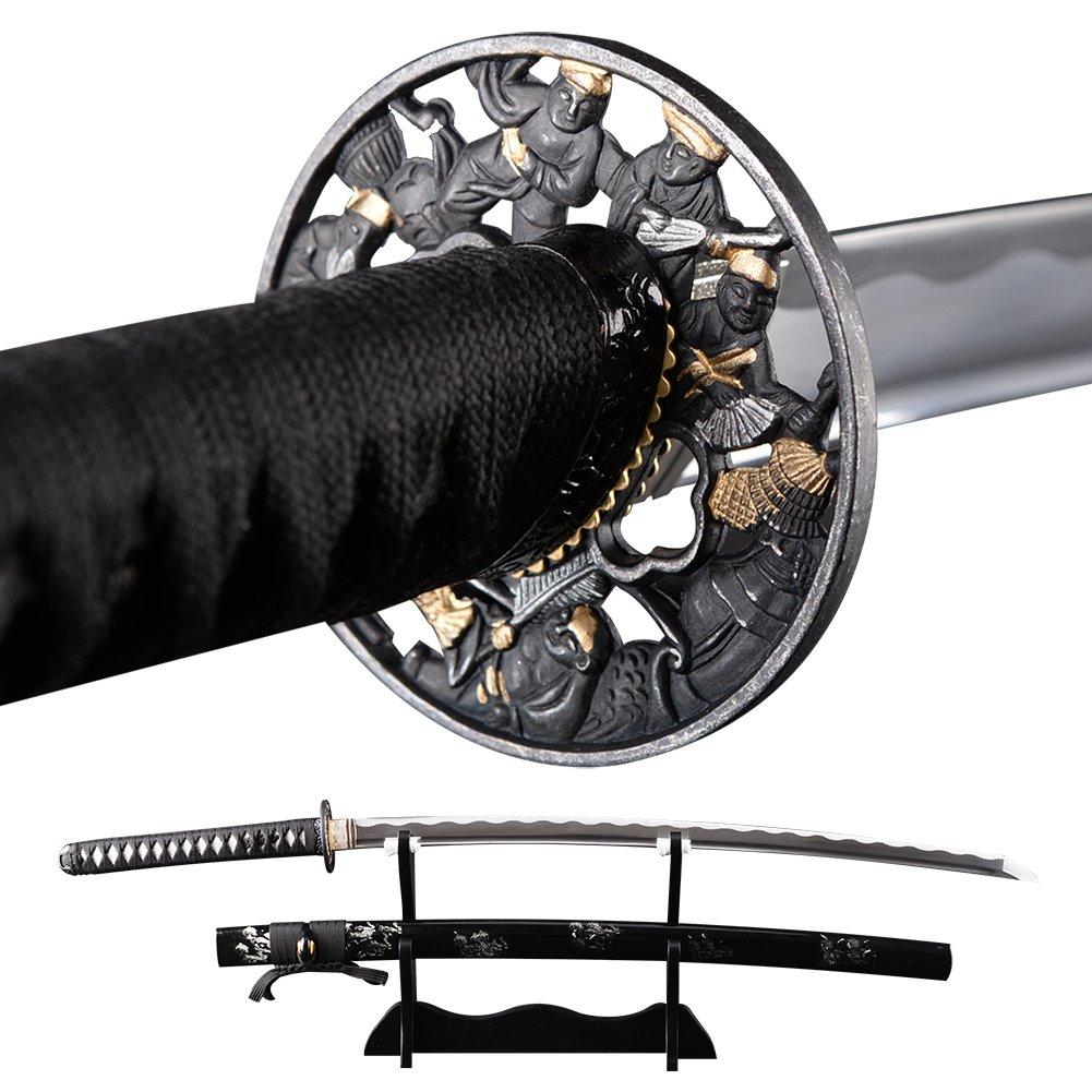 Amazon.com: SJ SHI JIAN Cool Black Japanese Katana Samurai ...