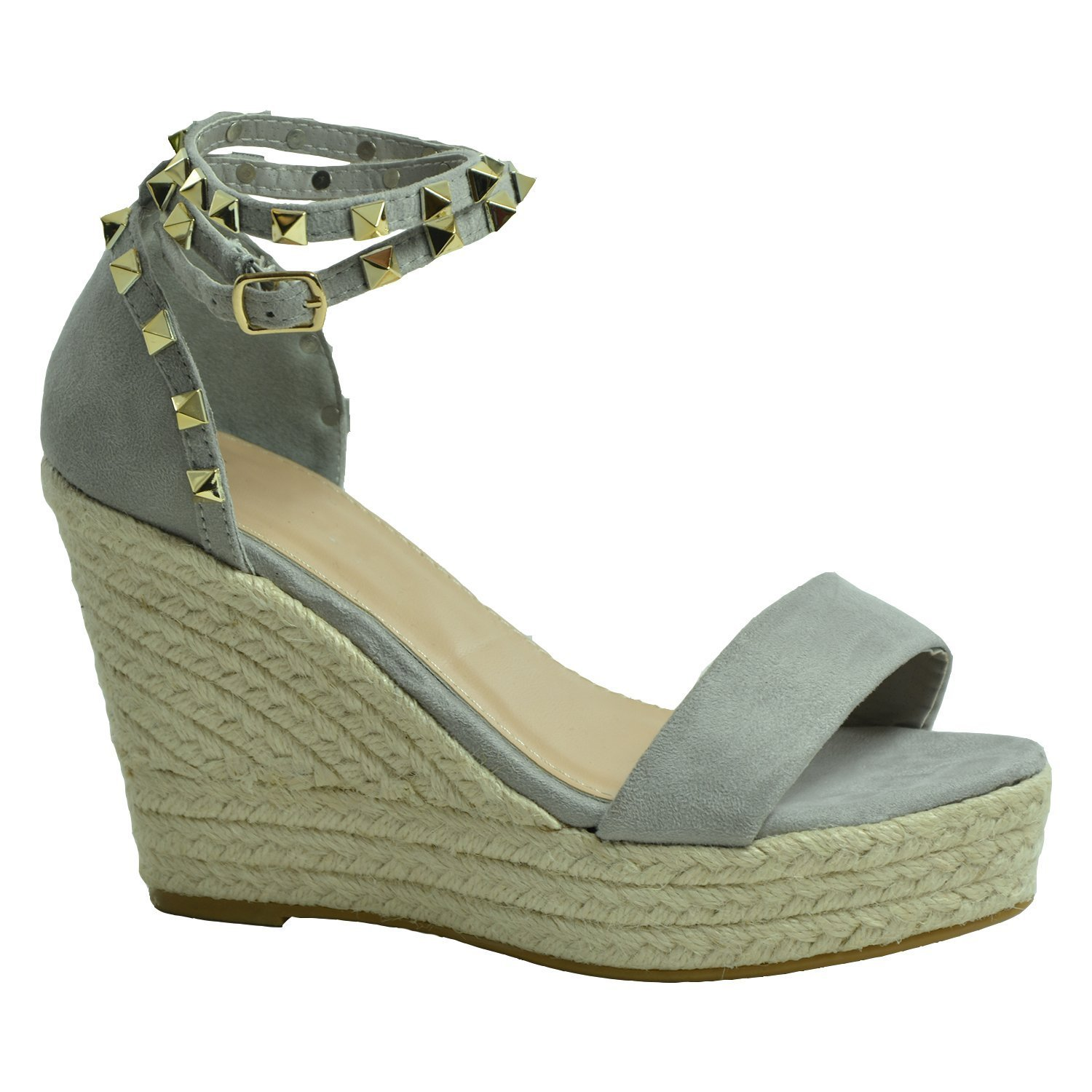 Womens Ankle Strap Studded Wedge Shoes B073JV54TR 8 B(M) US|Grey