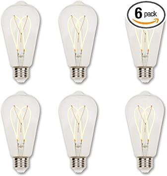 Westinghouse Lighting 5122120 4 5 Watt 25 Watt Equivalent St20 Dimmable Clear Flexible Filament Led Light Bulb Medium Base 6 Pack Amazon Com