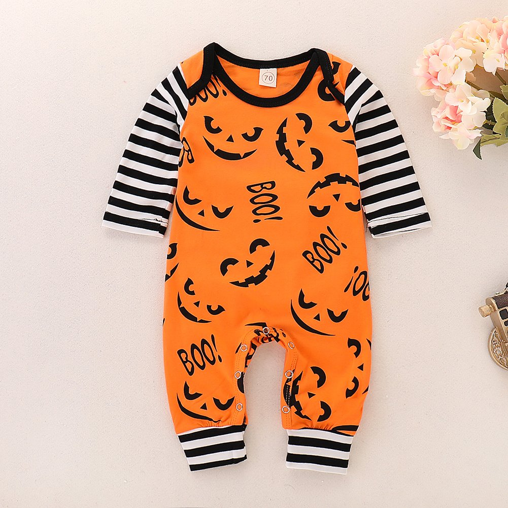 SEVEN YOUNG Cute Infant Baby Boy Girl Long Sleeve Romper Halloween Boo Jumpsuit Stripe Devil Bodysuit Outfit