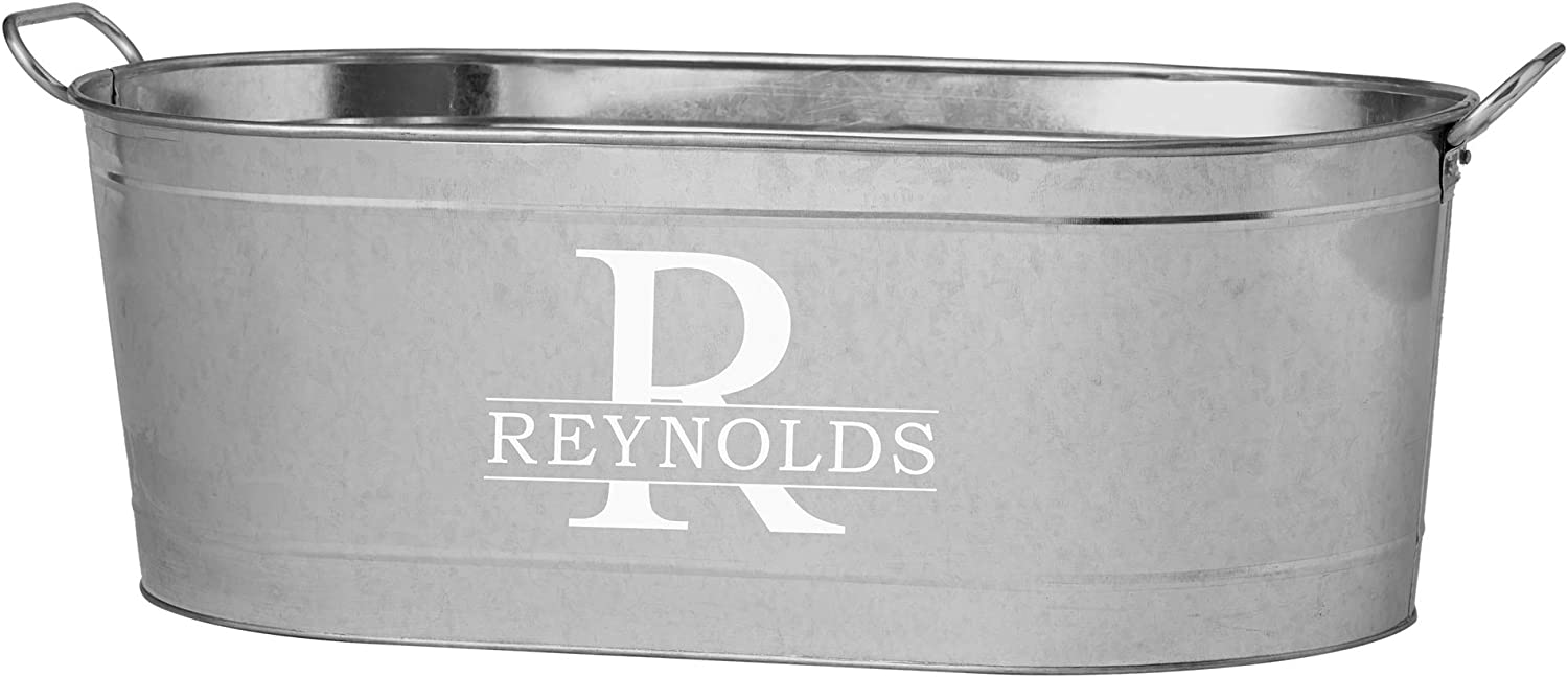 """Let's Make Memories Personalized Beverage Tub - Custom Beverage Tub - Customize with Name & Initial - Galvanized Drink Tub - 20 ¾""""L x 11 ¾""""W x 7"""" H"""
