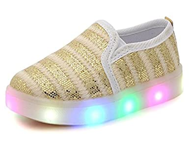bade054beda5b USANDY Girls' Light Up Sequins Shoes Slip-on Flashing LED Casual Loafers  Flat Sneakers (Toddler/Little Kid)