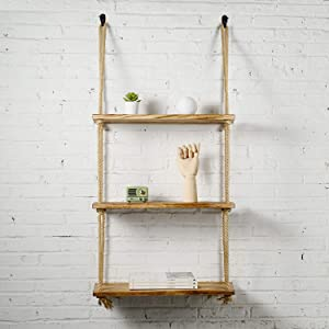Rope Floating Shelves Wood Hanging Swing 3 Tier for Living Room Bedroom Bathroom Farmhouse Home Decor and Wall Storage (Jute Rope)