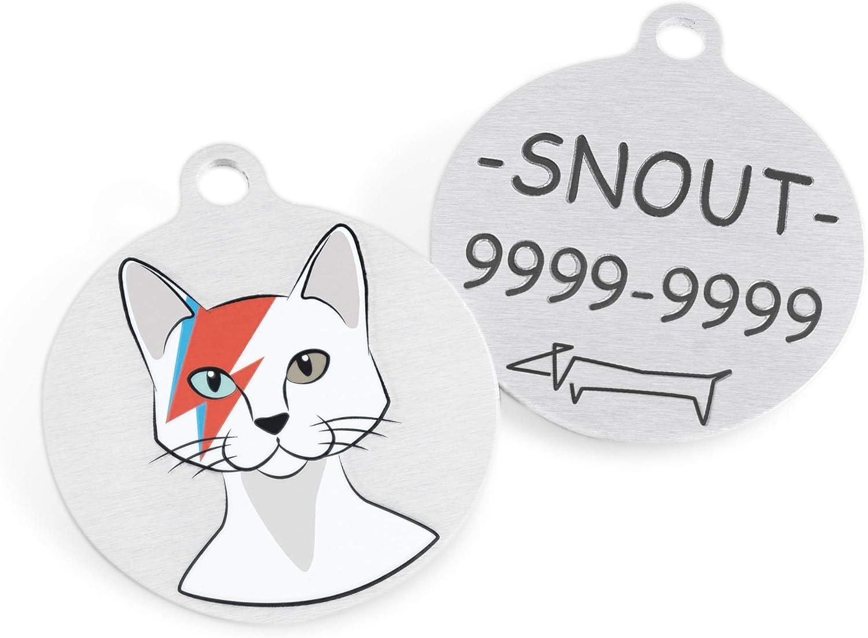 David Bowie en el mundo de los gatos Snout Fashion Custom BowieCat Etiquetas de identificaci/ón de mascotas de acero inoxidable para gatos