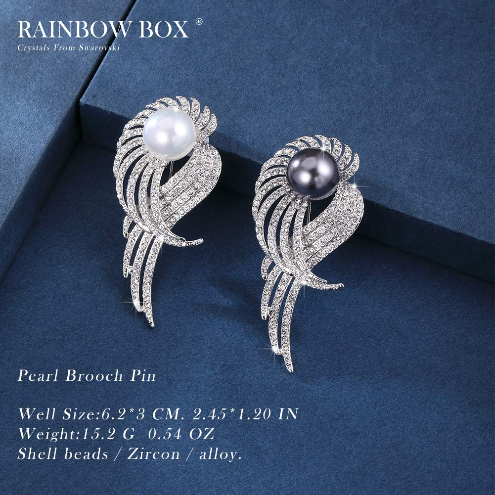 Rainbow Box Pearl Brooch Pins with Swarovski Crystal, Rhinestone Women's Brooches & Pins by RAINBOW BOX (Image #3)