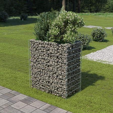 UnfadeMemory Jardinera Exterior,Gaviones de Piedra,Muro de Gaviones,Decorativos para Jardin Patio,Acero Galvanizado,Plateado (90x50x100cm): Amazon.es: Hogar